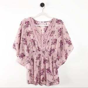 Candie's Floral Blouse Womens Shirt Pink Purple
